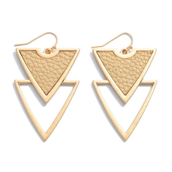 Wholesale faux Leather Metal Geometric Drop Earrings