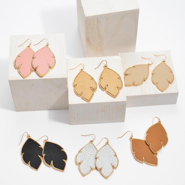 """Faux Leather Metal Leaf Drop Earrings.  - Approximately 2.5"""" in Length"""