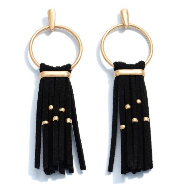 """Faux Leather Tassel Drop Earrings in Gold.  - Approximately 3"""" in Length"""