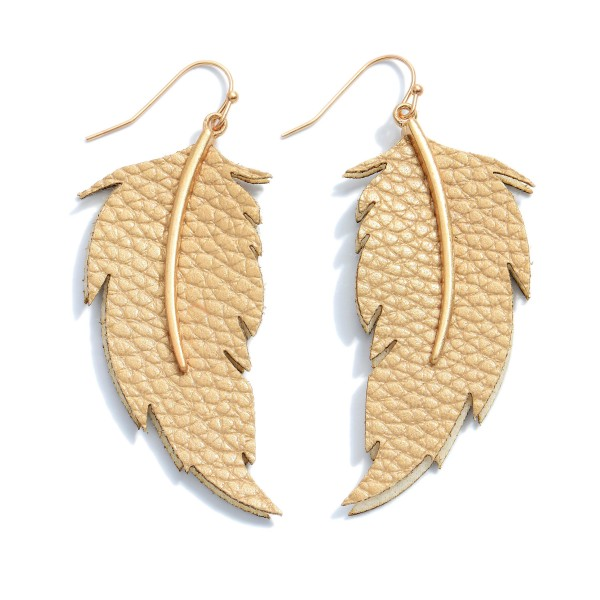 """Faux Leather Leaf Drop Earrings.  - Approximately 2.5"""" in Length"""