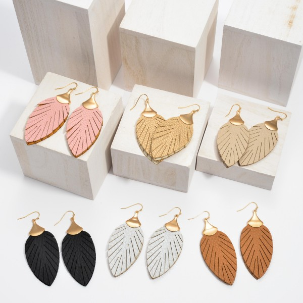 """Faux Leather Feather Drop Earrings.  - Approximately 2.75"""" in Length"""