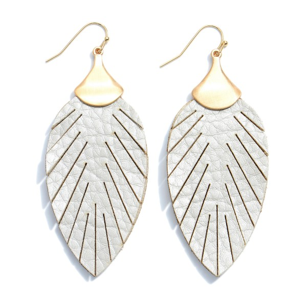 "Faux Leather Feather Drop Earrings.  - Approximately 2.75"" in Length"