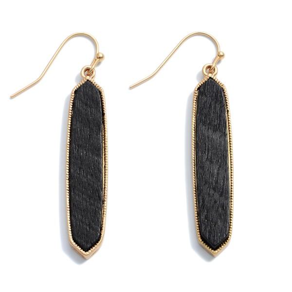 "Wooden Bar Drop Earrings.  - Approximately 1.75"" in Length"