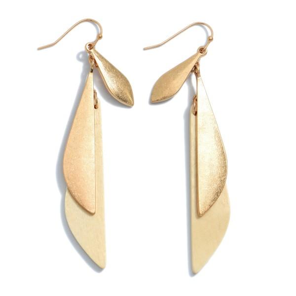 """Wooden Bohemian Tassel Drop Earrings in Gold.  - Approximately 3"""" in Length"""