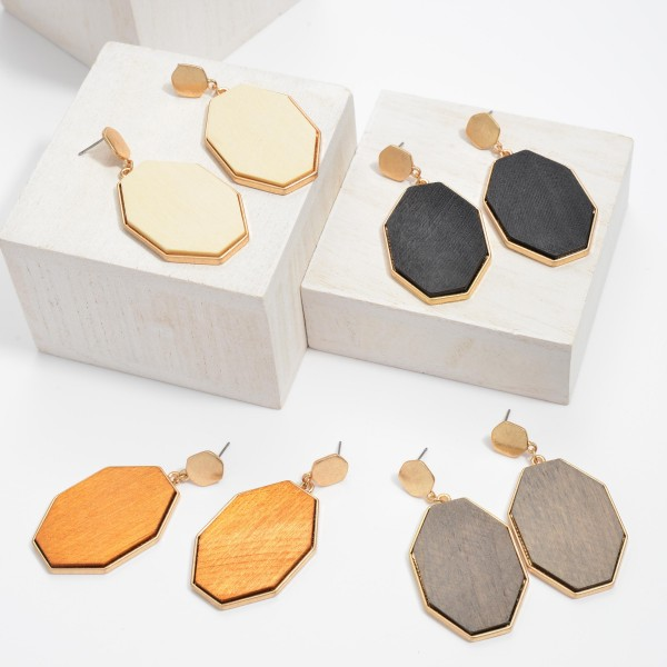 """Wooden Octagon Drop Earring in Gold.  - Approximately 2.25"""" in Length"""