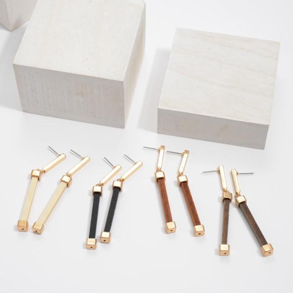 "Wood Bar Drop Earrings.  - Approximately 2.75"" in Length"