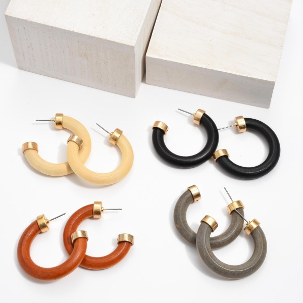 "Thick Wooden Hoop Earrings.  - Approximately 1.5"" in Diameter - Hoop Thickness: 6mm"