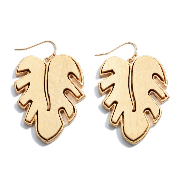 """Wooden Palm Leaf Drop Earrings in Gold.  - Approximately 2"""" in Length"""