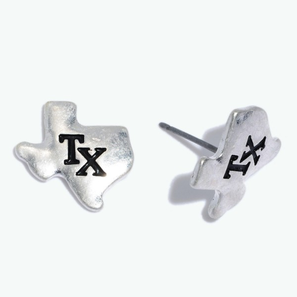 "Texas State Stamped Stud Earrings in a Worn Finish.  - Approximately .5"" in Size"
