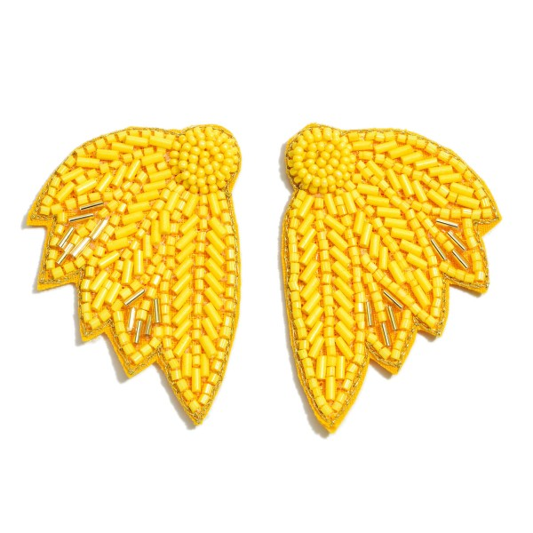 "Seed Beaded Feather Felt Statement Earrings.  - Approximately 2"" in Length"
