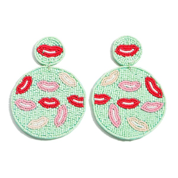 "Seed Beaded Felt Statement Earrings Featuring Lip Details.  - Approximately 3.5"" x 2.25"""