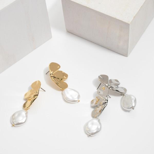 "Metal Petal Pearl Drop Earrings.  - Approximately 2.25"" in Length"