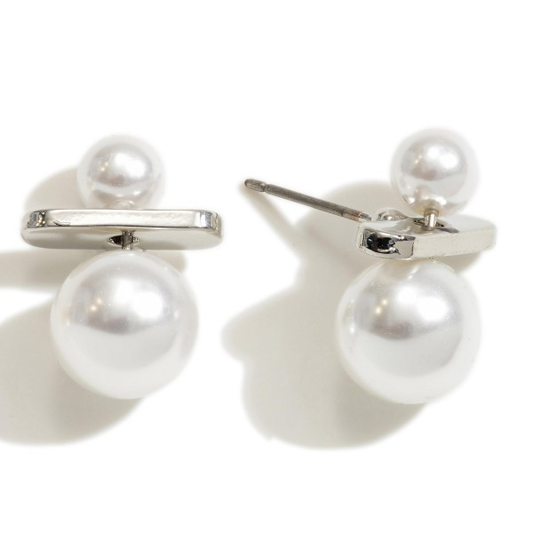 Ivory Pearl Geo Stud Earrings.  - Pearl Size Approximately 5-9mm