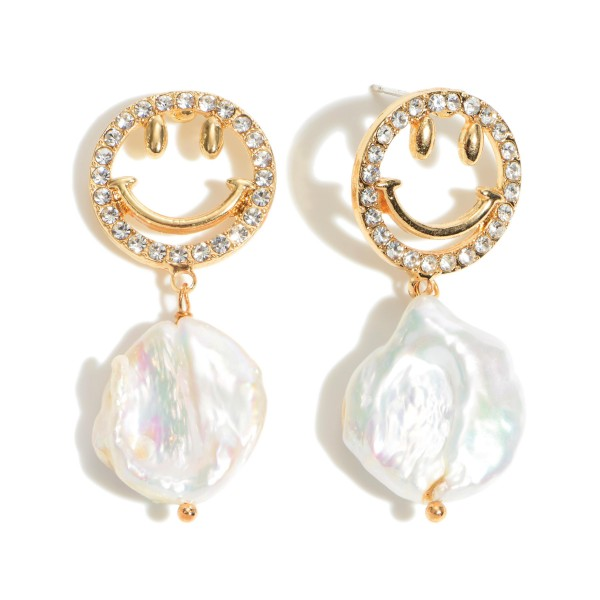 """Freshwater Pearl Smiley Drop Earrings Featuring Rhinestone Accents.  - Approximately 1.75"""" in Length"""