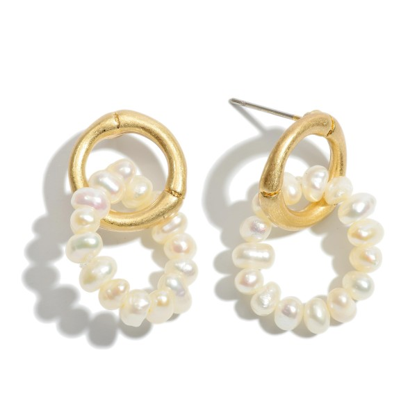 "Pearl Beaded Ring Drop Earrings in Gold.  - Approximately 1"" in Length"
