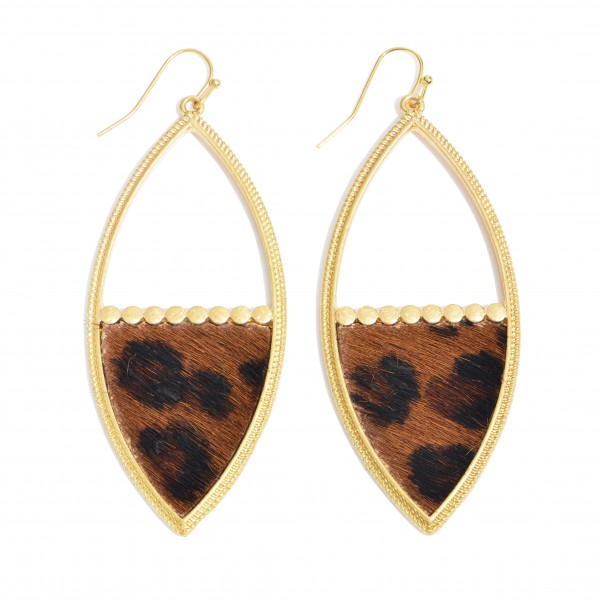 "Metal Encased Leopard Print Statement Drop Earrings in Gold.  - Approximately 3"" in Length"