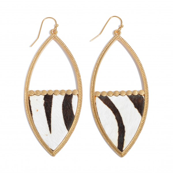 "Metal Encased Zebra Print Statement Drop Earrings in Gold.  - Approximately 3"" in Length"