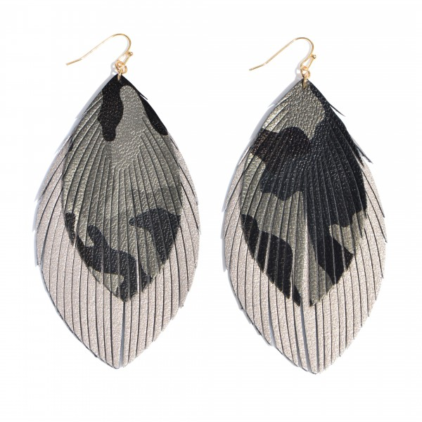 """Faux Leather Camouflage Feather Tassel Drop Earrings.  - Approximately 4"""" in Length"""