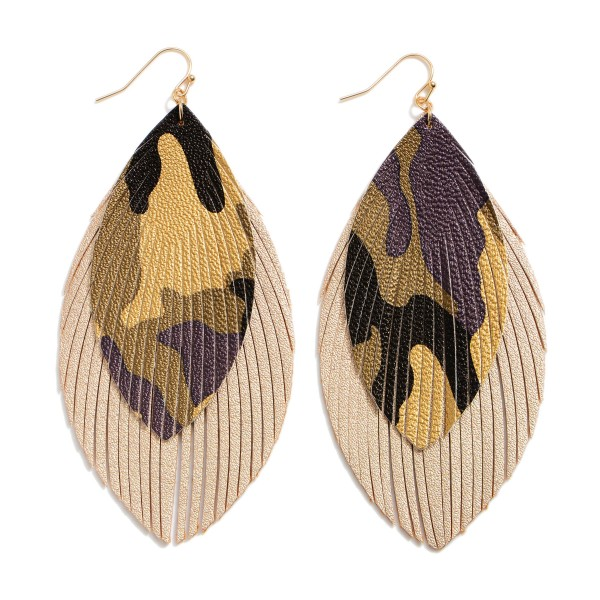 "Faux Leather Feathered Tassel Camouflage Statement Earrings.  - Approximately 4"" in Length"