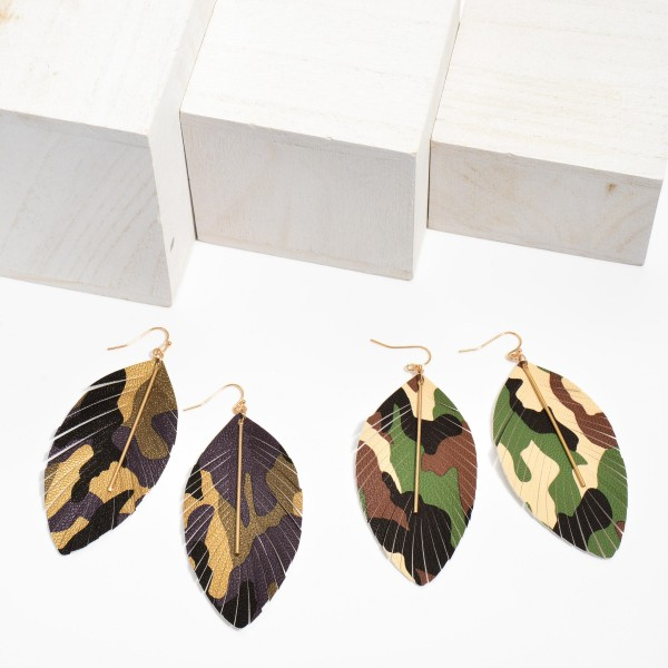 "Faux Leather Feathered Tassel Camouflage Statement Earrings Featuring a Gold Bar Accent.  - Approximately 3.5"" in Length"