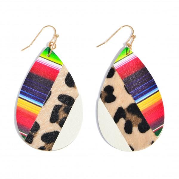 """Faux Leather Leopard Print Serape Teardrop Earrings.  - Approximately 2.5"""" in Length"""