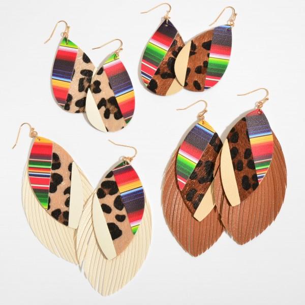 """Faux Leather Leopard Print Serape Tassel Statement Earrings.  - Approximately 4"""" in Length"""