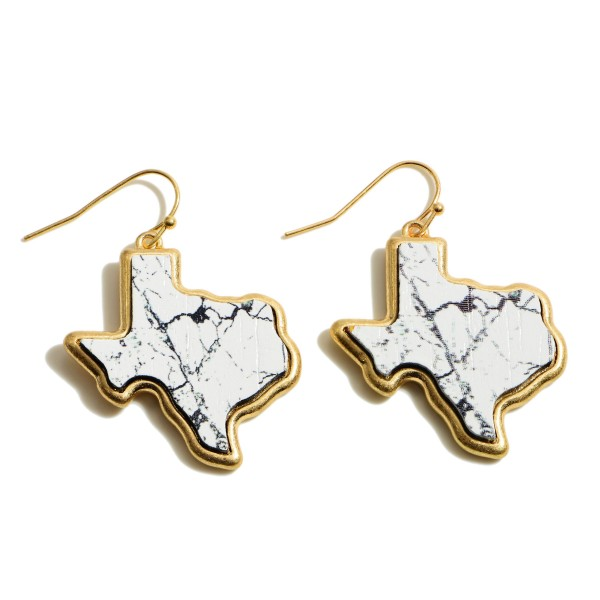 """Wooden Natural Stone Texas State Drop Earrings.  - Approximately 1.5"""" in Length"""