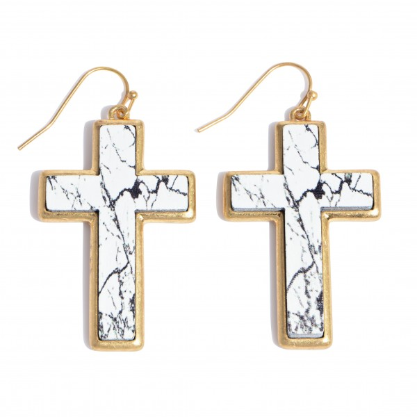 """Natural Stone Wooden Cross Drop Earrings in Gold.  - Approximately 1.5"""" in Length"""