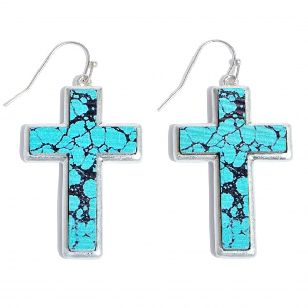 """Natural Stone Wooden Cross Drop Earrings in Silver.  - Approximately 1.5"""" in Length"""