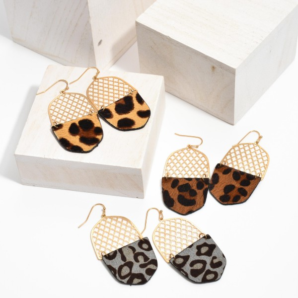 "Filigree Faux Leather Leopard Print Drop Earrings in Gold.  - Approximately 2.5"" in Length"