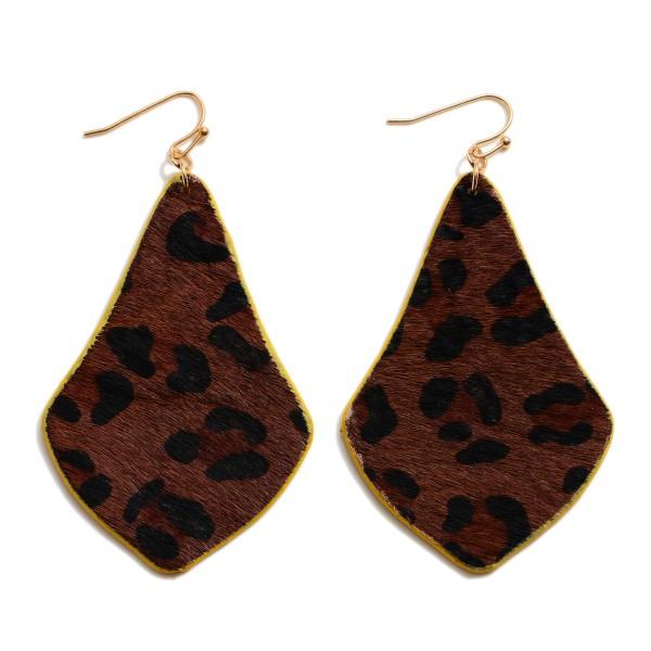"""Faux Leather Leopard Print Moroccan Teardrop Earrings.  - Approximately 2.5"""" in Length"""