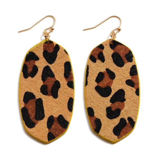 "Faux Leather Leopard Print Drop Earrings.  - Approximately 2.5"" in Length"