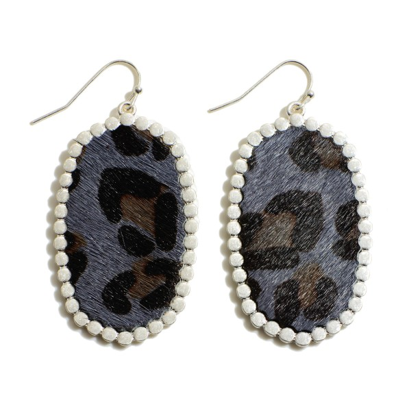 "Faux Leather Leopard Print Drop Earrings Featuring Metal Trim.  - Approximately 2"" in Length"
