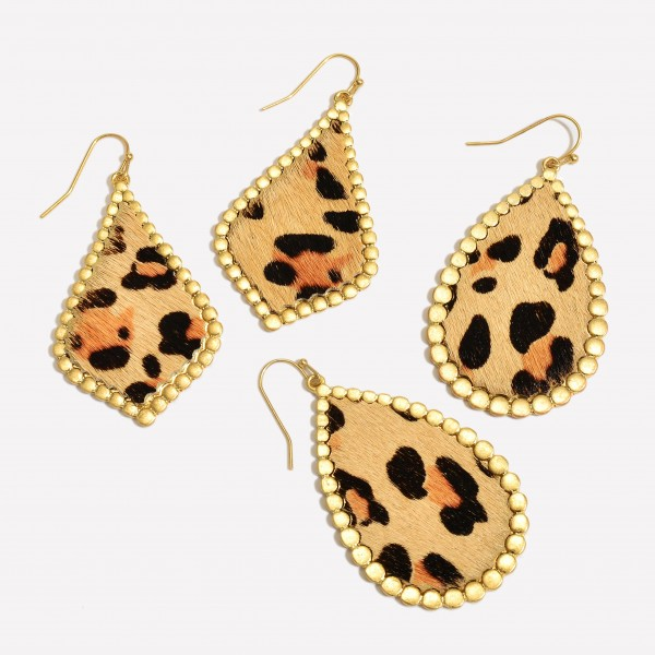 """Faux Leather Leopard Print Teardrop Earring Featuring Gold Metal Trim.  - Approximately 2"""" in Length"""