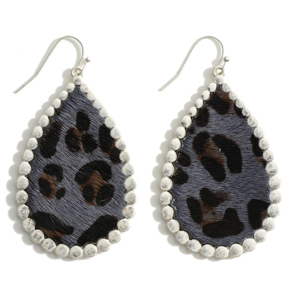 "Faux Leather Leopard Print Teardrop Earring Featuring Silver Metal Trim.  - Approximately 2"" in Length"