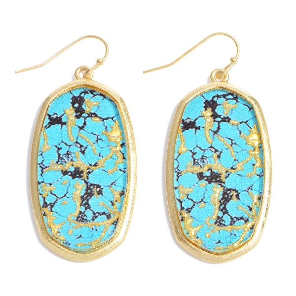 """Natural Stone Glass Drop Earrings.  - Approximately 2"""" in Length"""