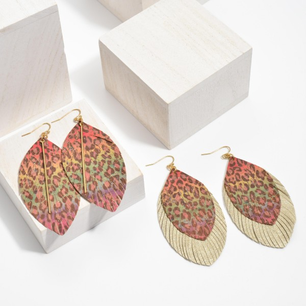 "Faux Leather Cork Multicolor Leopard Print Feathered Tassel Statement Earrings.  - Approximately 3.5"" in Length"