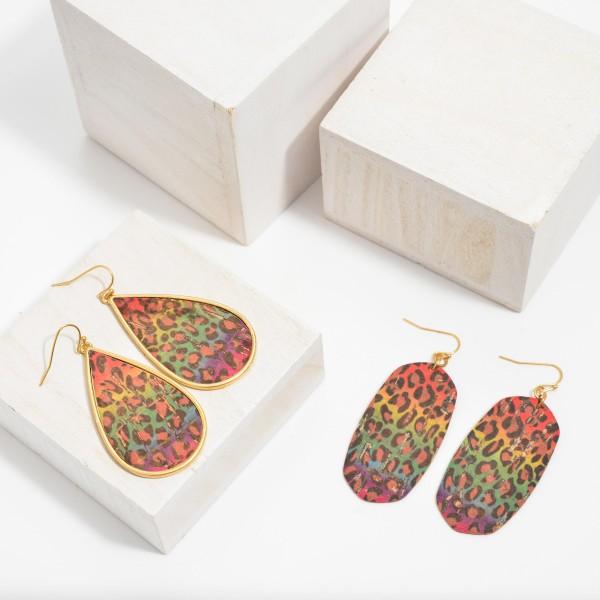 """Multicolor Faux Cork Leopard Print Drop Earrings.  - Approximately 2.5"""" in Length"""