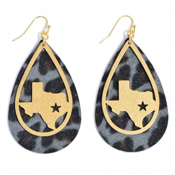 "Leopard Print Teardrop Earrings Featuring a Metal Texas State Accent in Gold.  - Approximately 2.75"" in Length"