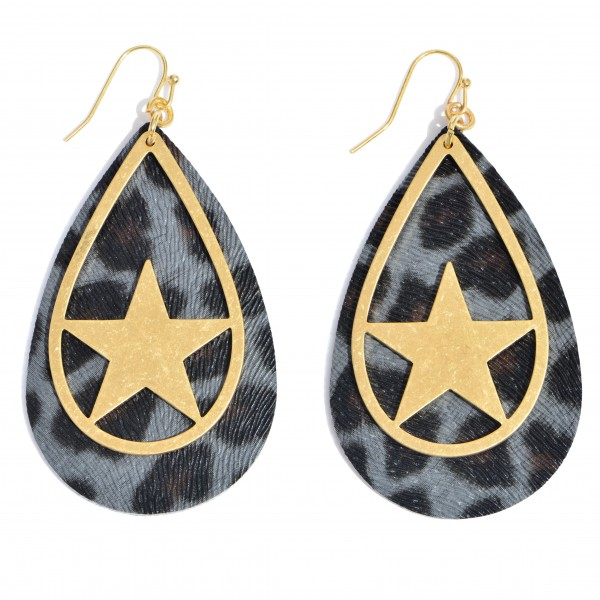 """Leopard Print Teardrop Earrings Featuring a Metal Star Accent in Gold.  - Approximately 2.75"""" in Length"""