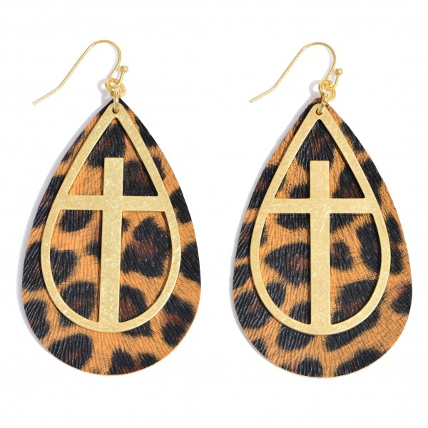 """Leopard Print Teardrop Earrings Featuring a Metal Cross Accent in Gold.  - Approximately 2.75"""" in Length"""