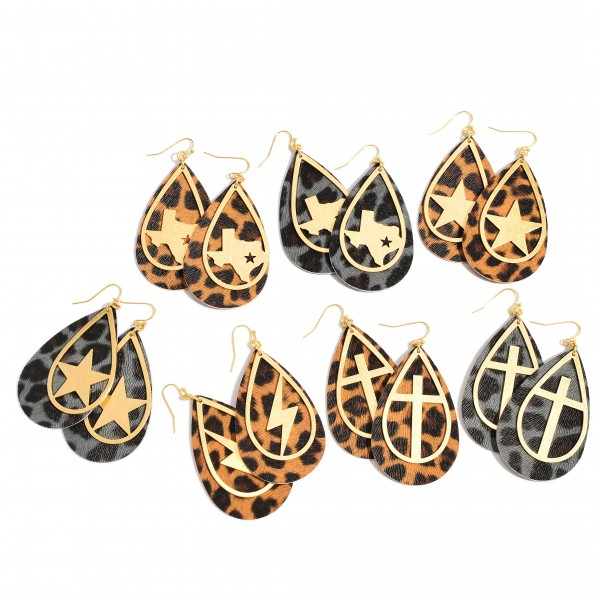 "Leopard Print Teardrop Earrings Featuring a Metal Cross Accent in Gold.  - Approximately 2.75"" in Length"