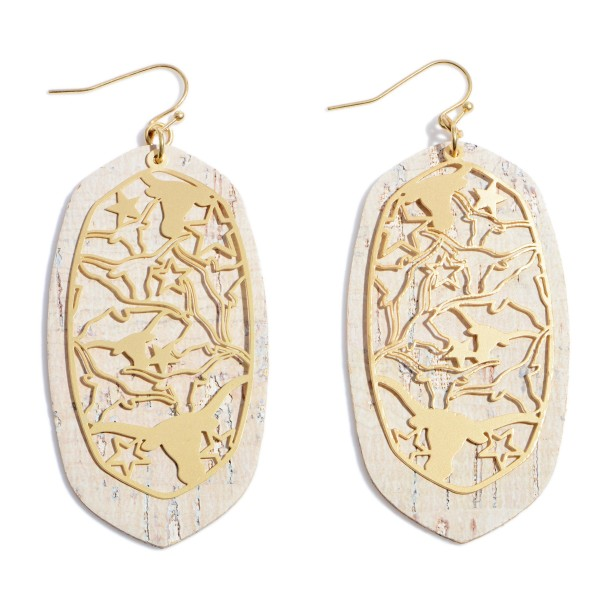 "Longhorn Filigree Cork Drop Earrings.  - Approximately 3"" in Length"