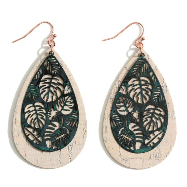 "Filigree Cork Layered Palm Leaf Teardrop Earrings.  - Approximately 3"" in Length"