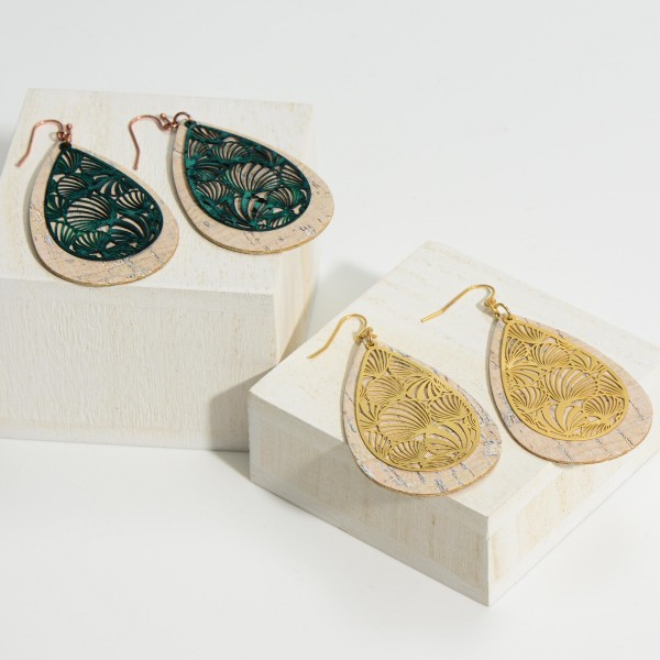 """Cork and Filigree Tear Drop Earrings.   - Approximately 2.5"""" in Length"""