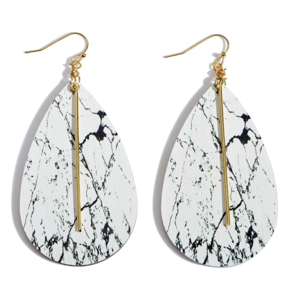 """Wooden Natural Stone Teardrop Earrings Featuring a Gold Metal Bar Accent.  - Approximately 2.75"""" in Length"""
