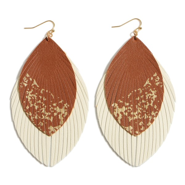 "Faux Leather Feathered Tassel Statement Earrings Featuring Gold Metallic Accents.  - Approximately 4"" in Length"