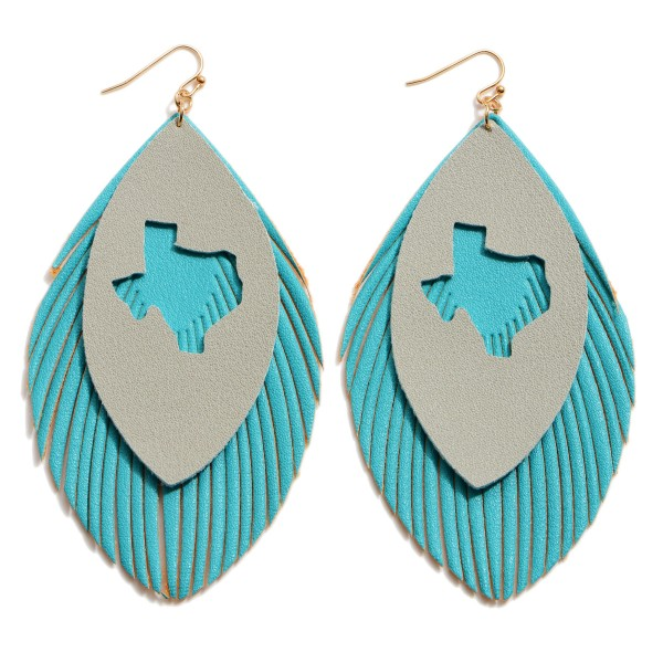 "Faux Leather Feathered Tassel Texas State Statement Earrings.  - Approximately 4"" in Length"