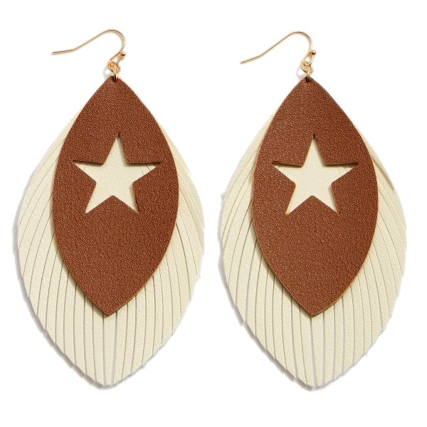 "Faux Leather Feathered Tassel Star Statement Earrings.  - Approximately 4"" in Length"