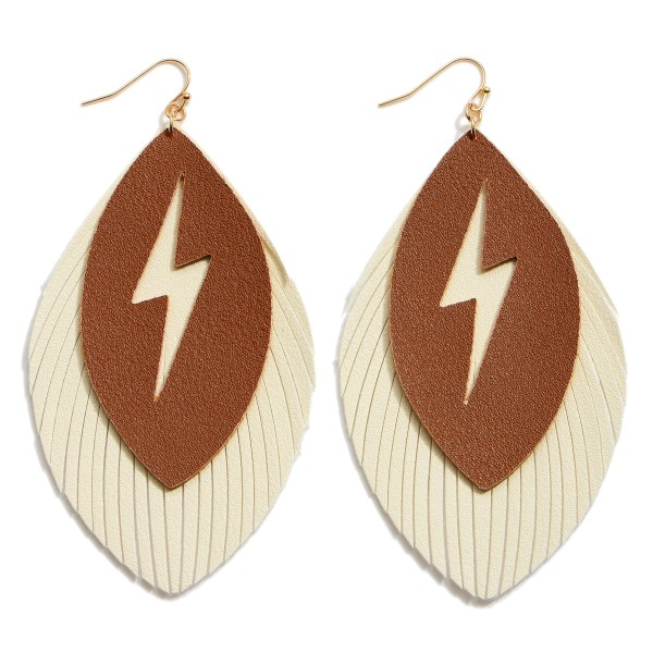 "Faux Leather Feathered Tassel Lightning Bolt Statement Earrings.  - Approximately 4"" in Length"